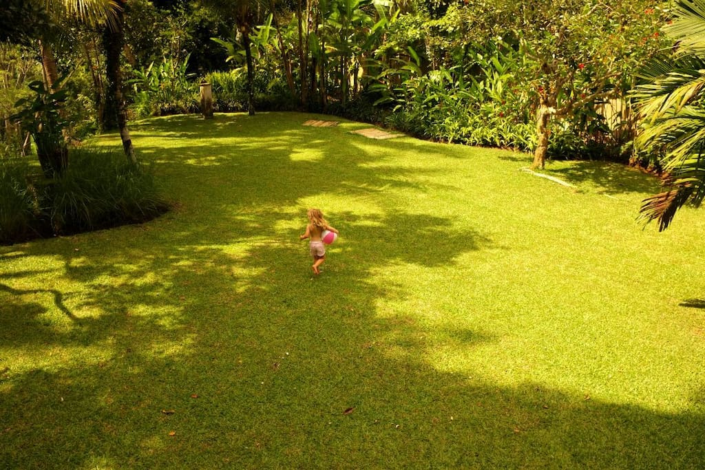 The back yard, plenty of room for kids to play, or to entertain & be entertained.