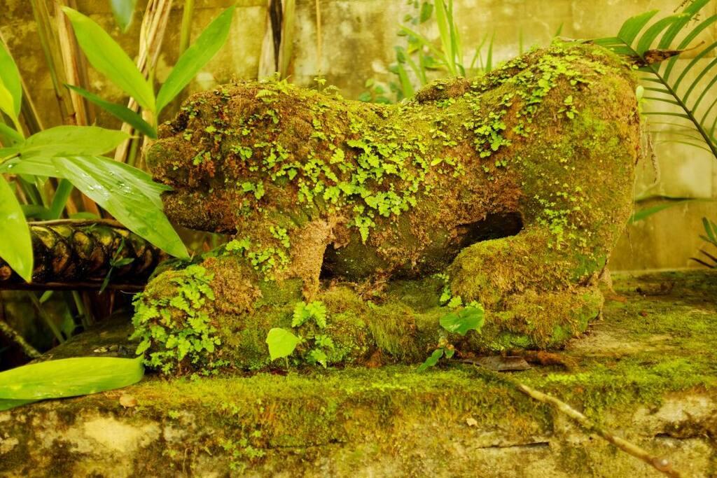 A sculpture in the spcious garden.