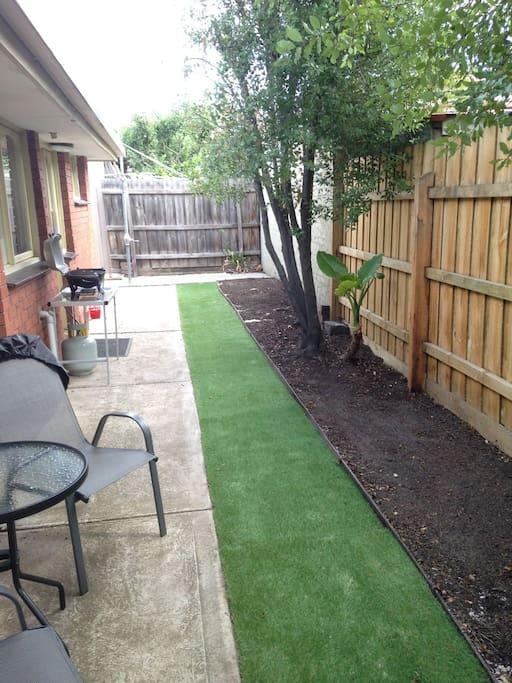 Rear garden with BBQ