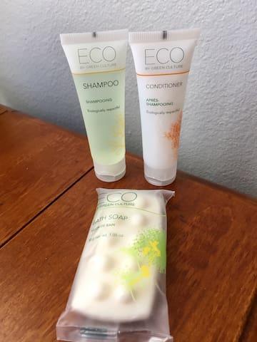 Shampoo and Soap provided