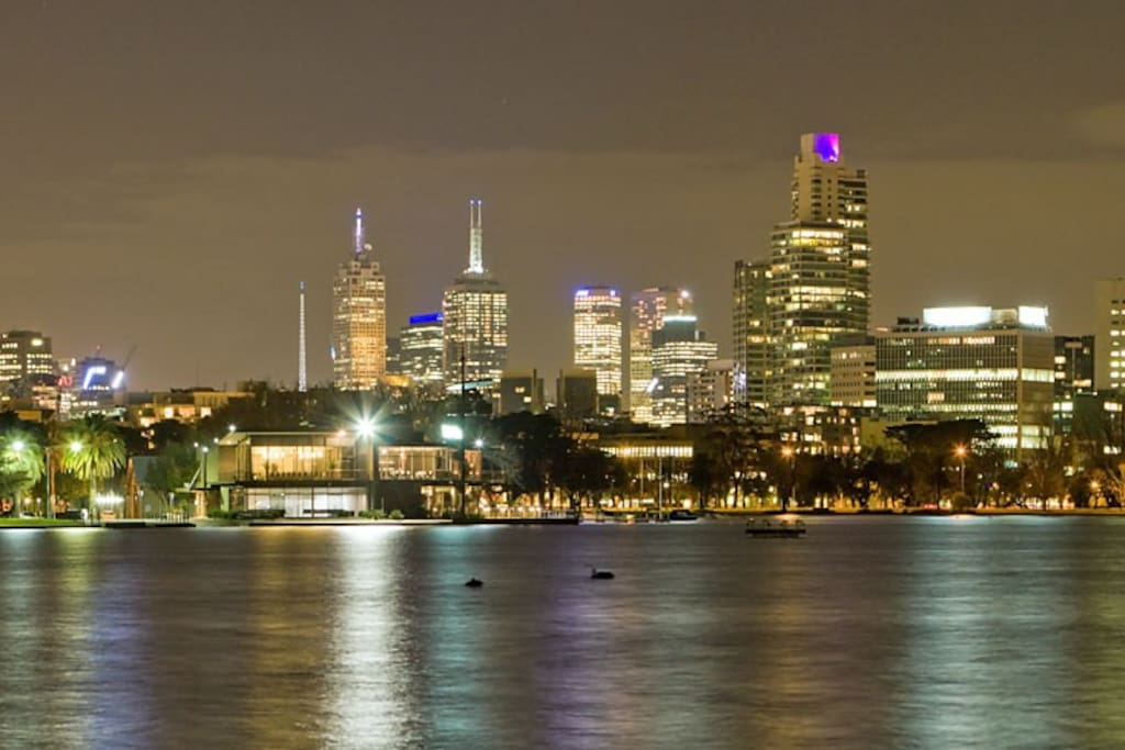 View of the Melbourne Skyline from the front yard - Albert Park Lake