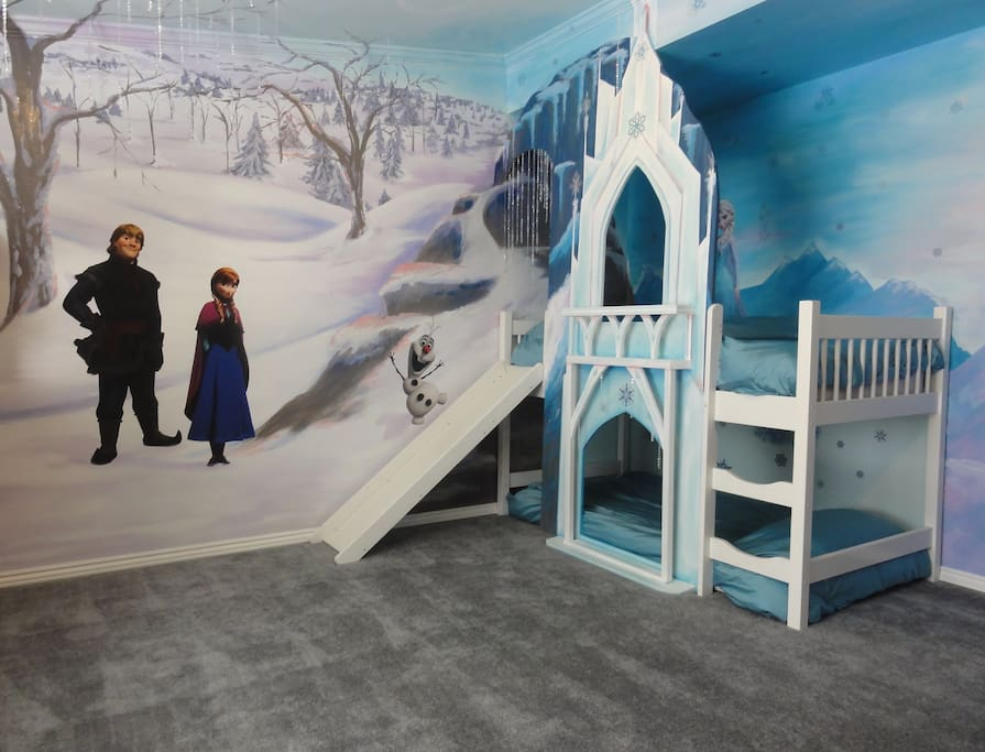 The Frozen room has 5 twin beds and lots of room to romp and play.