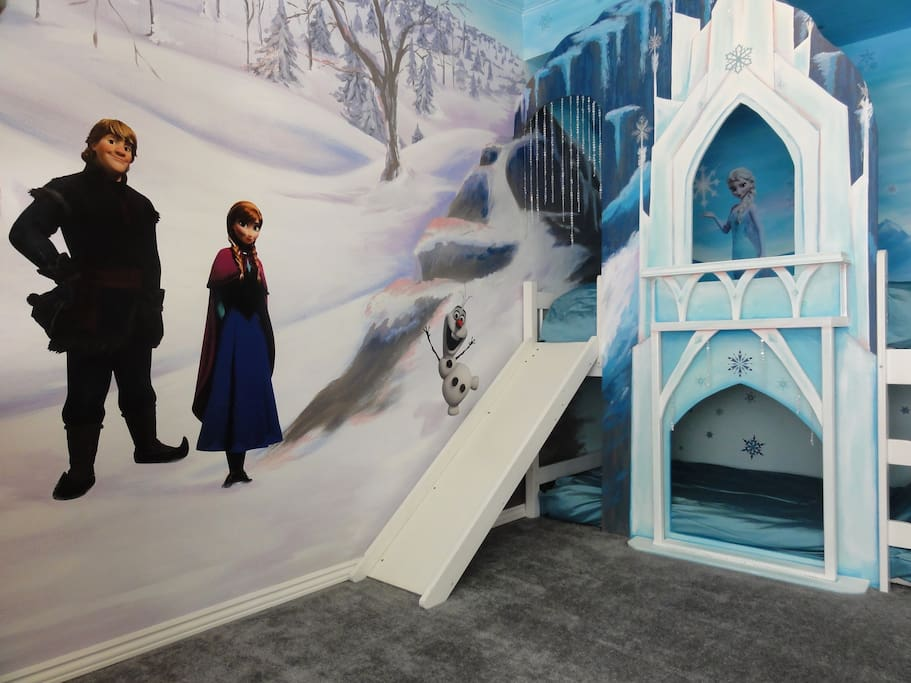 The ice castle has two twins beds and Elsa!