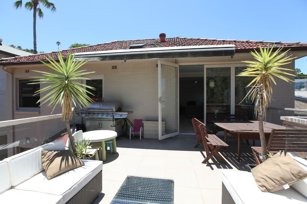 BBQ- outdoor living & dining. Has electric shade awning.