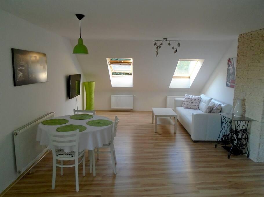 Vzdušný obývací pokoj s rozkládací sedačkou a LED televizí