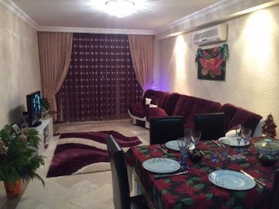 Living room with the sofa which transforms to the double bed