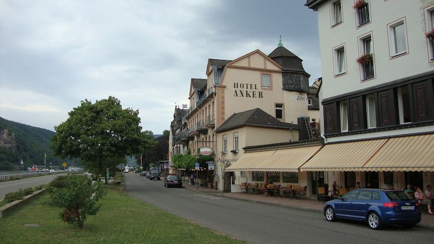 Rhine front building with Zum Anker Restaurant on the ground floor