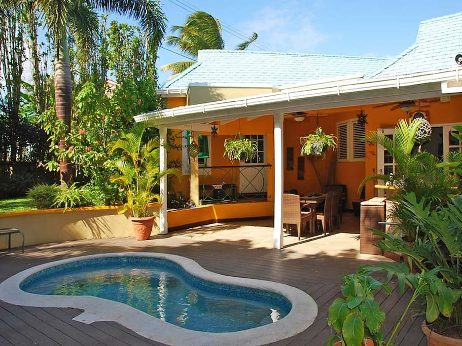 Plunge pool and deck with outdoor dining.