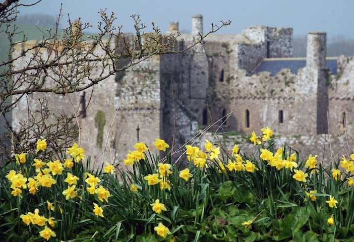 Manorbier Castle, by the beach