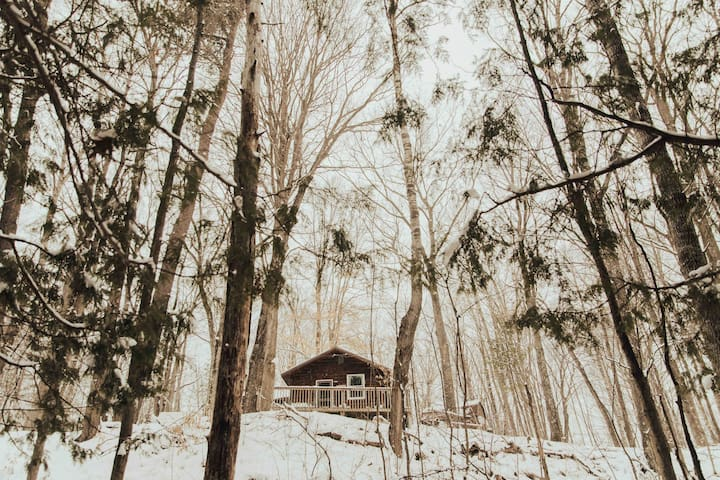 Enjoy winter in a cozy cabin.