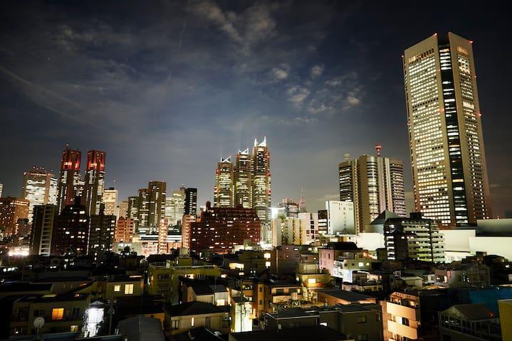 View from main door in the evening (Shinjuku)