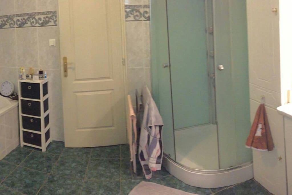 Salle de bain avec baignoire et douche à disposition