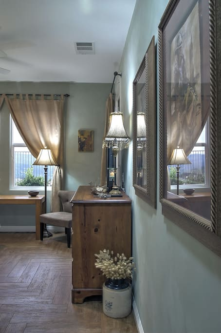 Guest Suite measures around 13' x 13' and both wired and wireless high-speed internet service is available.