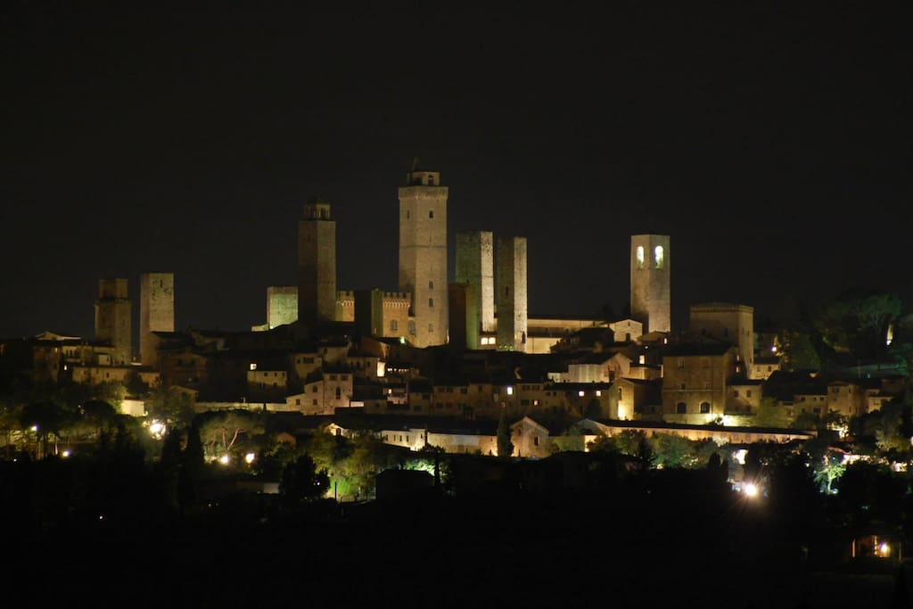 Night view on San Gimignano. Picture made with a 250mm telephoto lens, from the room patio.
