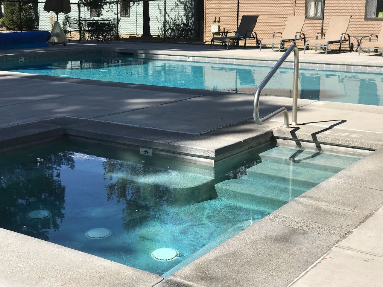 Seasonal outdoor pool and year-round hot tub
