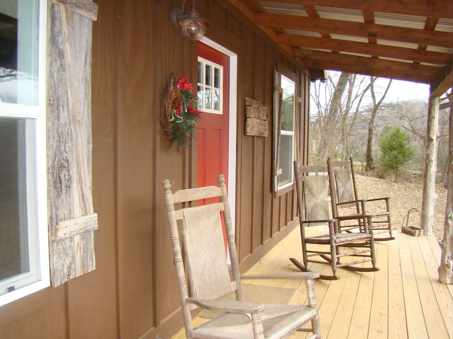 Country front porch for relaxing and coffee