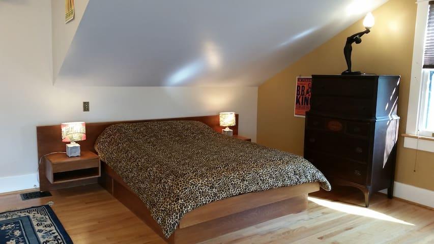 Super comfortable queen size platform bed.
