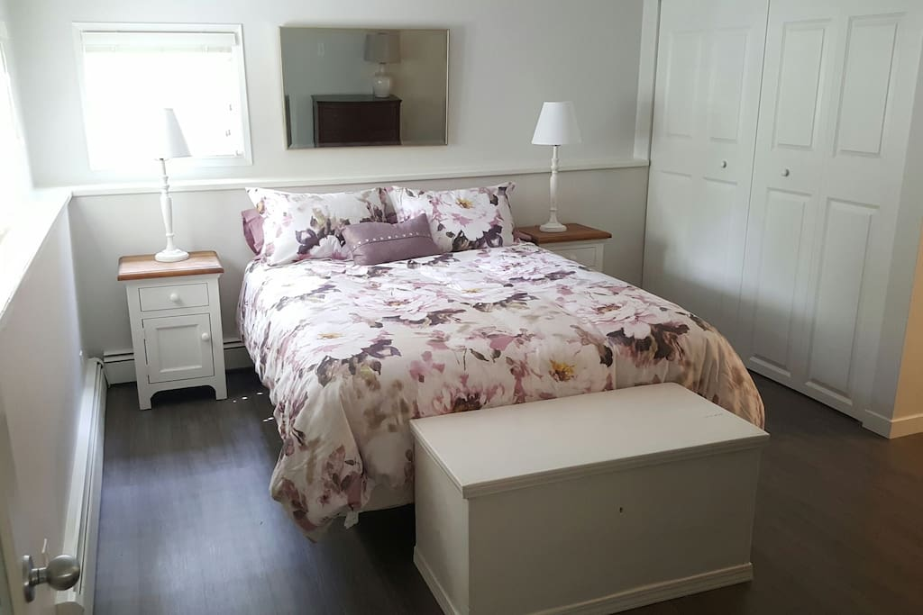 Queen size bed in spacious Master bedroom with lots of closet space and natural light.