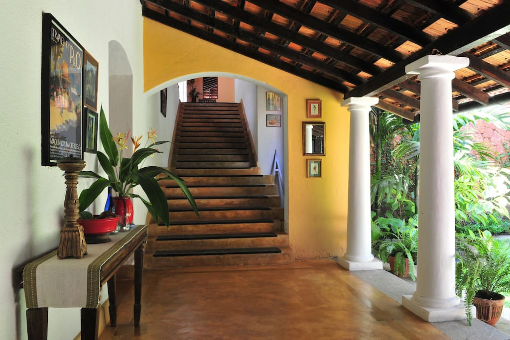 Steps leading to Heliconia and terrrace.