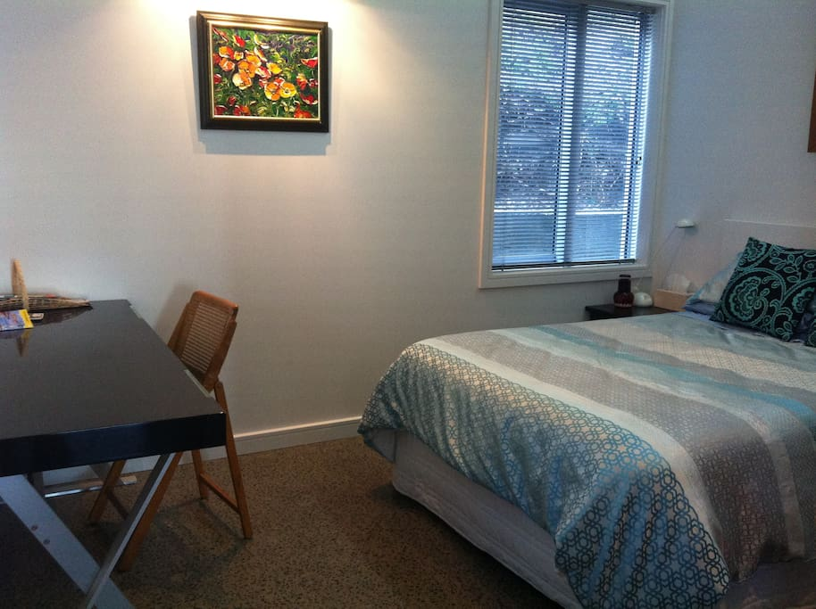 Your private room has a desk, and a wardrobe with  ironing board and iron and hairdryer for your use.