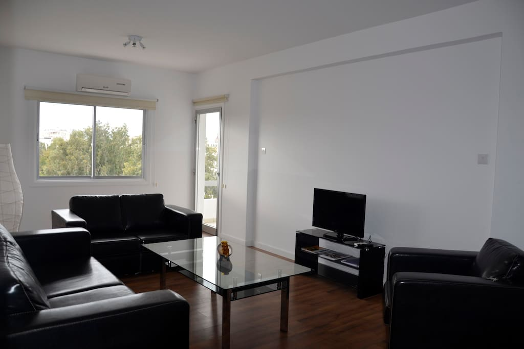 Living room-spacious and bright, furnished with comfortable leather couches