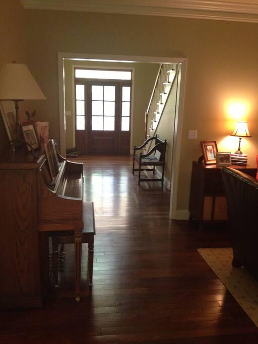 Looking towards front door from living room