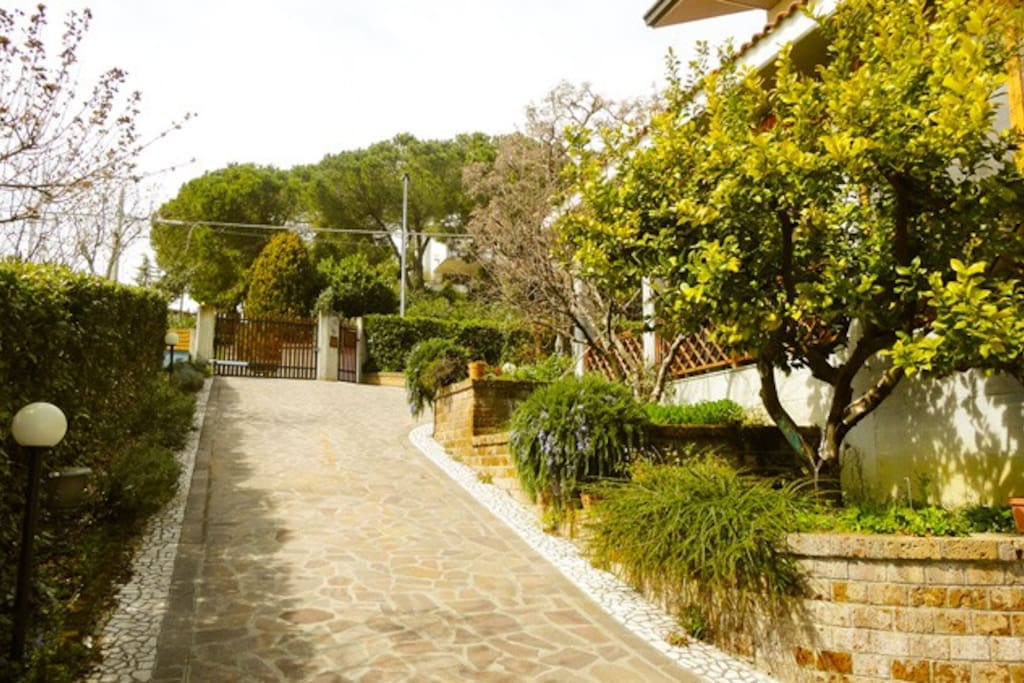 Villa Marina front gate and entrance immersed in nature!