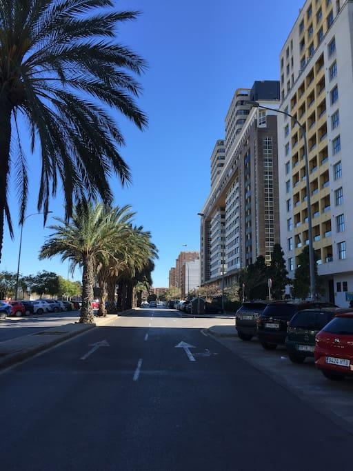 Centric street close to the beach, port, and city center