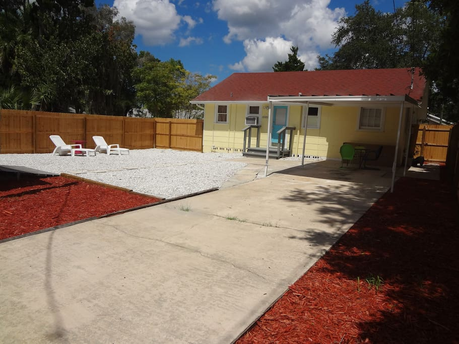Spacious fenced in backyard.  Perfect for children or dogs!