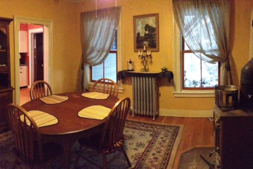 Dining room with wood stove.