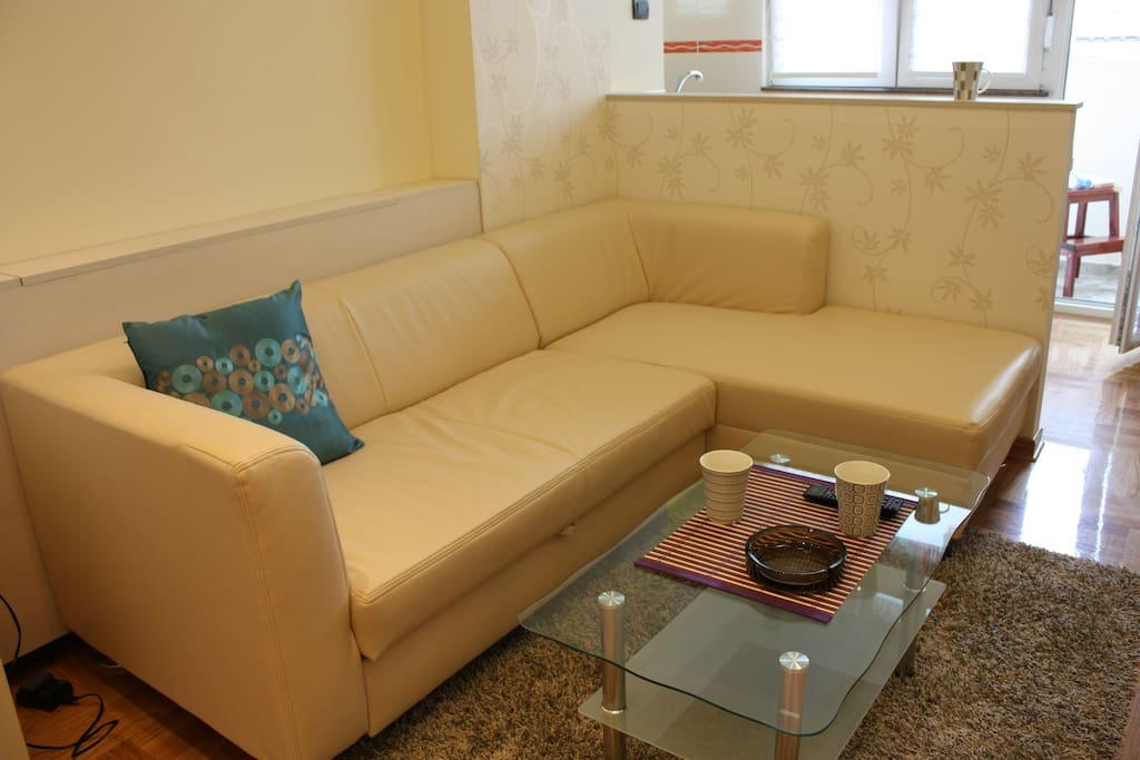 Expandable sofa in living room - sitting area