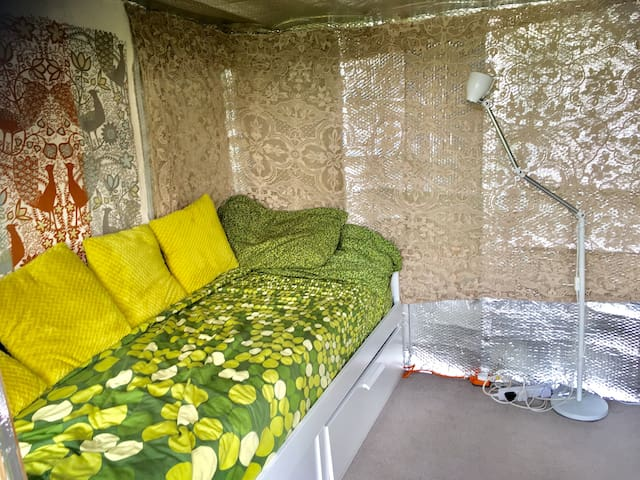 This is the day bed in the cabin, it has under bed storage and can pull out to a double. The cabin is in the garden about 20ft from the back doors