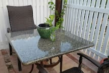 Outdoor enclosed fully private sitting and lounge  deck