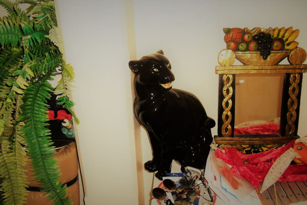 Our mascot the coco panther guards the hall.