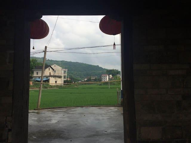 大槽门外是绿色的水稻田。(Outside the first door, is the rice paddy field)
