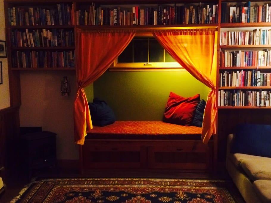 Cozy reading nook.