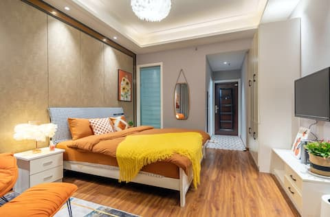 New Home Sale/Mimi Sauce Chizhou Guichi District Far East Square Sweet Orange Cozy Queen Bed Room