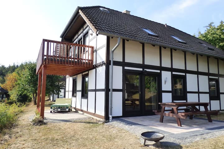Alluring apartment near lake Edersee in a half-timbered house with terrace