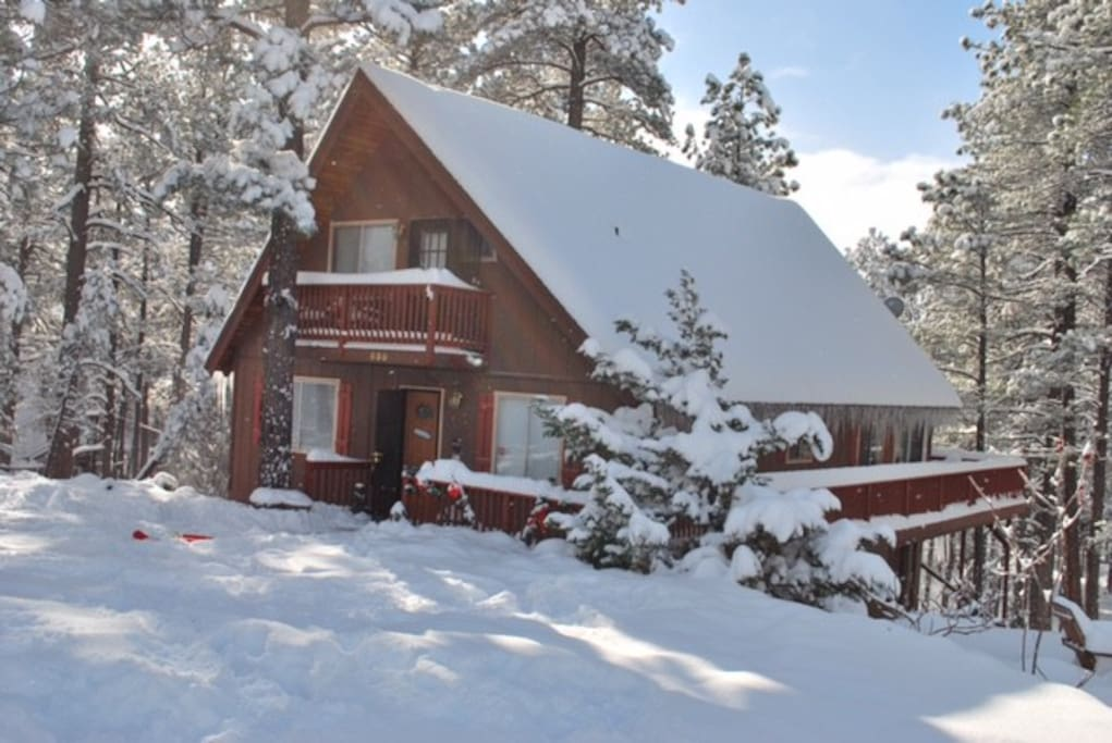 cabin in the winter - don't worry we have central heat!
