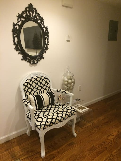 Living room arm chair and end table.