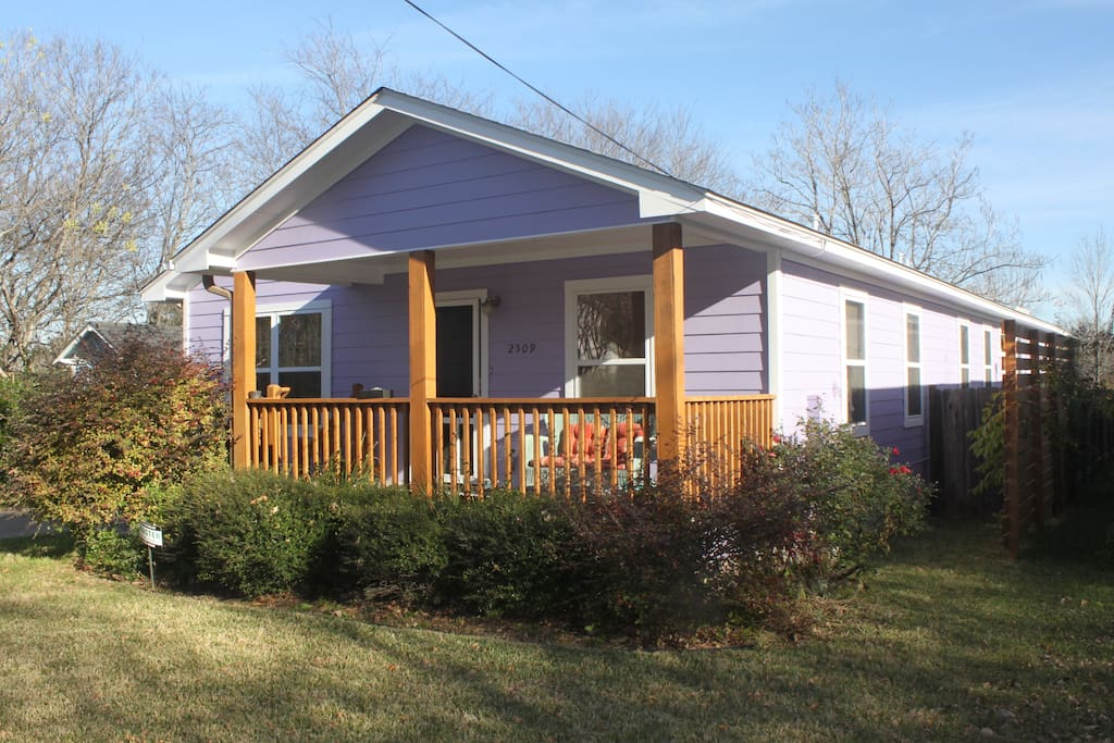 Only purple house on the block.