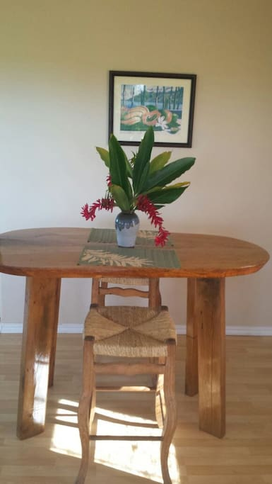 One of a kind Hawaiian Beautiful Mango wood table handmade by the owner. One of 2 mango tables.