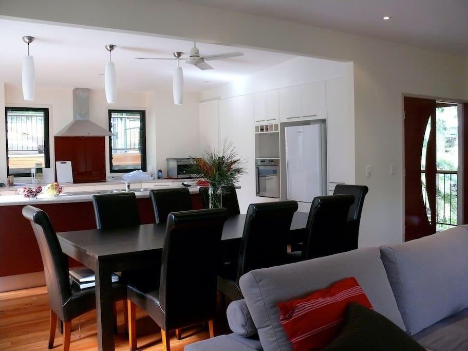 Large open plan kitchen, dining, living