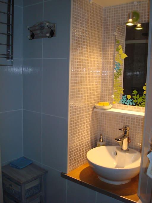 salle bain avec lavabo, WC, douche à l'italienne