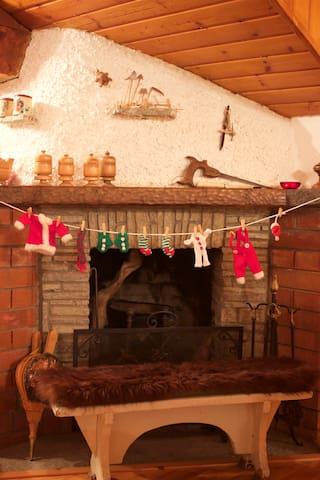 The fireplace with the Christmas decoration