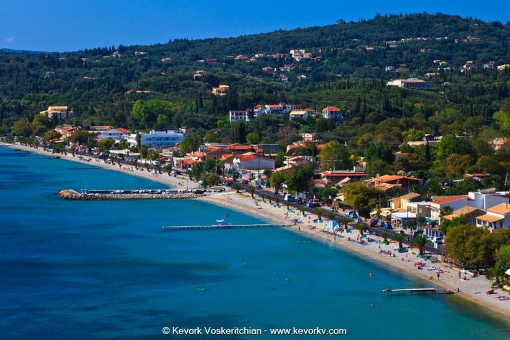 Panoramic view of Ipsos beach below Ag. Markos village