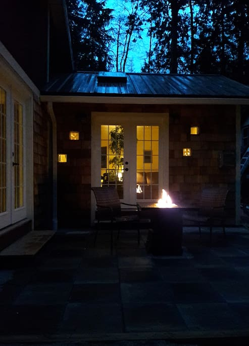 At night you can enjoy the serene location with your own firepit.