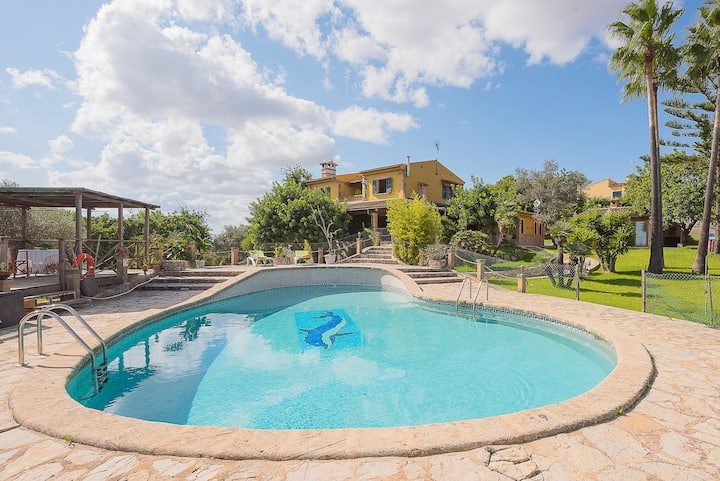 Rural Holiday Home 'Finca Son Dissabte' with Wi-Fi, Garden, Terraces, Balcony & Pool; Parking Available