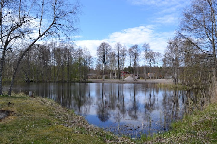 Cosy cabin in Saarenmaa with an idyllic pond