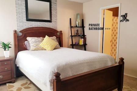 Room w PrivateBathroom n DoubleCushioning mattress